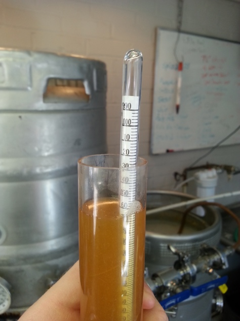 Stock lager wort at about 12 points above target.