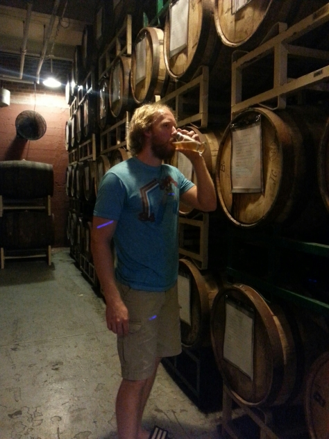 Drinking the Berliner Weisse in front of some barrel aging beer...gotta love the atmosphere!