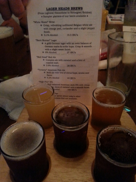 LagerHead's flight of beer