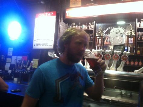 Drinking the Orthus Belgian Dubbel - yum!