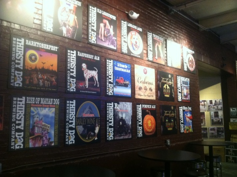 Thirsty Dog's beers - a nice showpiece in the taproom.