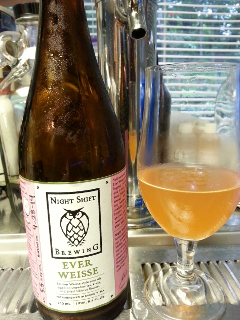 Night Shift Brewing's Ever Weisse.  A very good beer, the strawberries, kiwis and hibiscus is very subtle but there in this tart beer.
