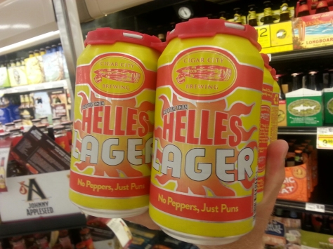 Cigar City Helles.  Not a fan.  This is a very light style for 'hot' days.  To me, too malty sweet.  I brewed a strikingly similar beer that I am not to fond of.  I find the yeast is all the more important when brewing such a light style.