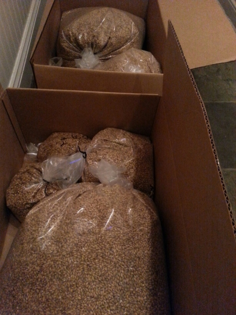 The grain bill for two batches.
