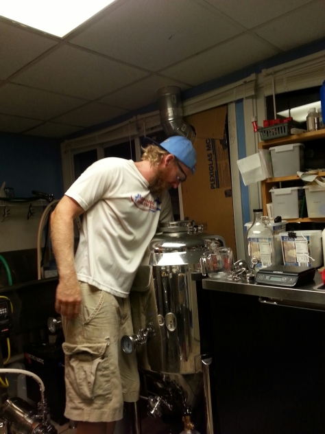 Cleaning out the fermentors the night before.  Usually they don't need elbow grease...this one did.