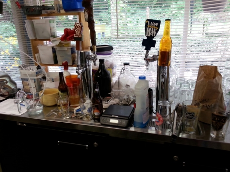 The 'bar' is messy after a brewday.