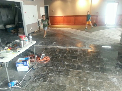 Kids are having fun.  Though I have to try to match that tile and continue it down in front of the bar.