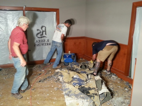We thought the carpet would be easy to remove, not so even with the vinyl tile remover.