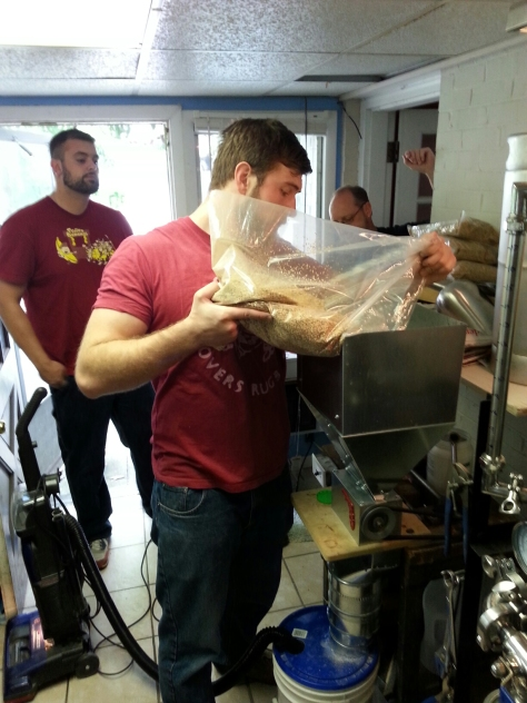 Grain milling.  Doug (far left) came down from Youngstown.