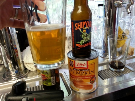 Shipyard's Pumpkin Ale.  A light pumpkin ale (which is actually a wheat beer) that is more carbonated than most and clove is the predominant spice.