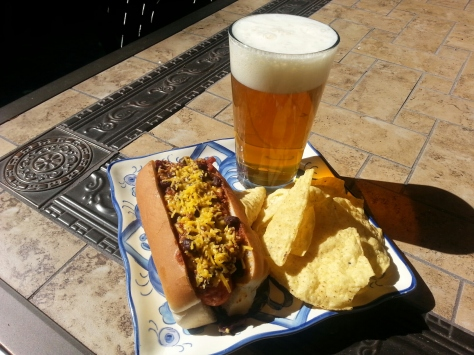 Beer slow-cooked chilli dogs!  Our newest menu item.