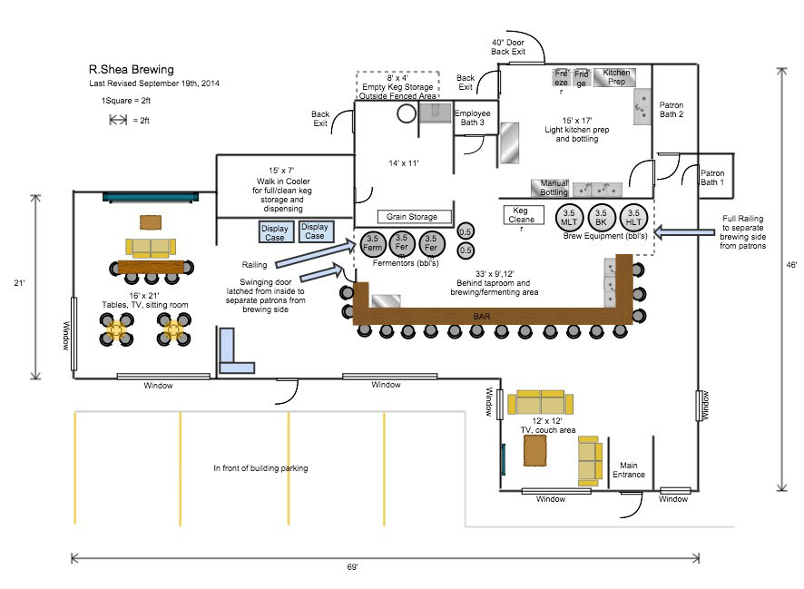 September 2014 r shea brewing for Brewery floor plan