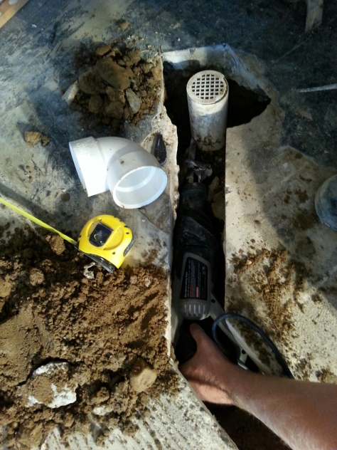 Trying to cut the existing drain to tap into was interesting.