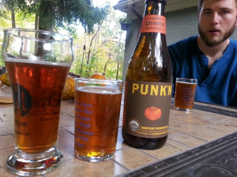 Punk'n by Uinta Brewing Company - A dry pumpkin that is not malty despite it's nice color. Decent aroma of pumpkin. Low spice. Punk'n is next to bottle. Ours is leftside.