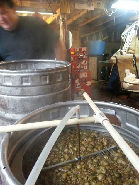 Whole hops on grainbed during sparge.