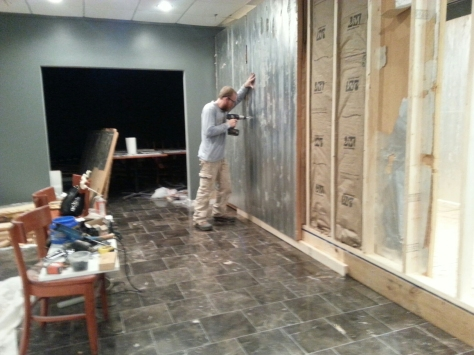 """Sealing up the outer walls with another layer of 2"""" foam insulation."""