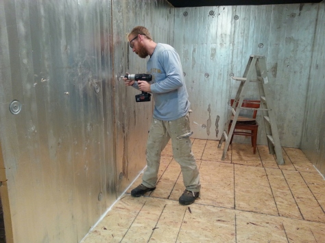 Finishing up the inside insulated walls.