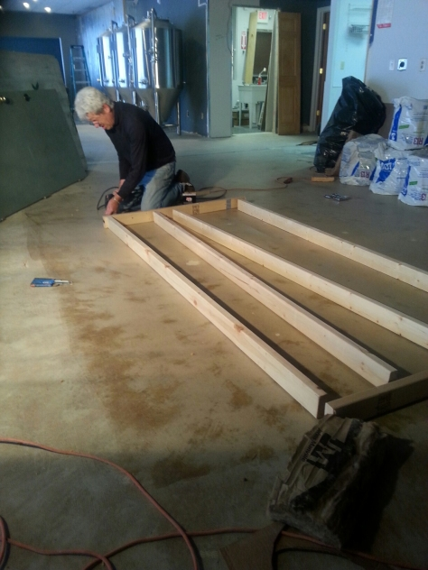 """Framing the ceiling.  We are making them in 4"""" pieces so that we can easily take them off if needed to access drop ceiling."""