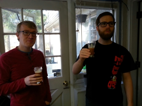 Ross and Ryan...sampling the Xmas made two weeks ago from the fermentor...did they guess the secret ingredient?  An ingredient that no Xmas has (that I'm aware of) but is a part of most Christmas songs and celebrations.  HINT:  you can definitely taste it with flatter beer.
