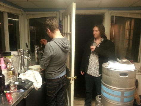 Daniel and Tony sampling the Christmas on tap.
