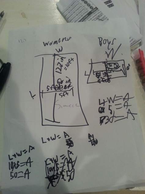 My son Devin's calculation on bathroom square feet for tiles.