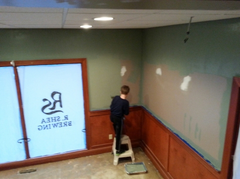 Devin working on the 'chillin room'.