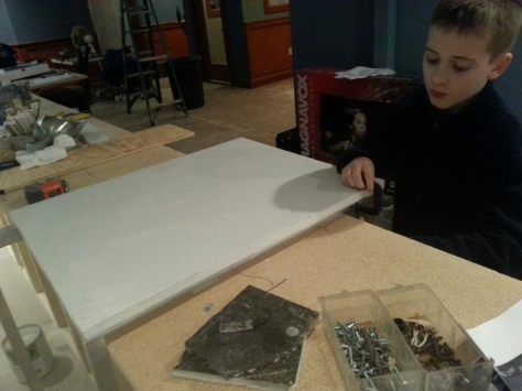 My son Devin helping during the construction of this...learning about the utility of C-clamps when drilling metal.