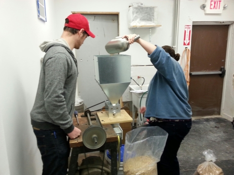 Daniel and my wife milling the grains.  We did run into milling mechanical issues today that added an extra hour to  the day.