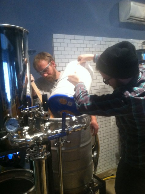 Ross helping with the mash-in.