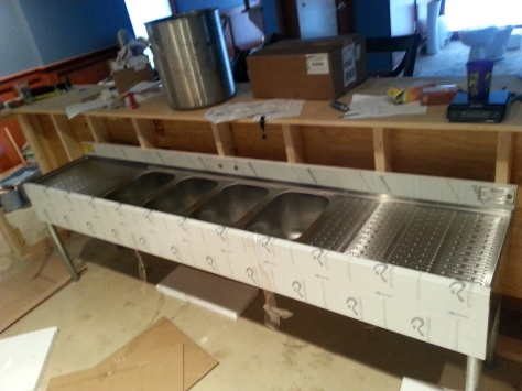 It's a bar sink! With 2 foot wide drainboards and an extra sink for brew days.
