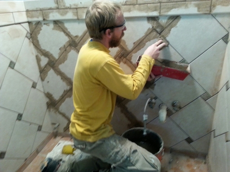 Grouting.