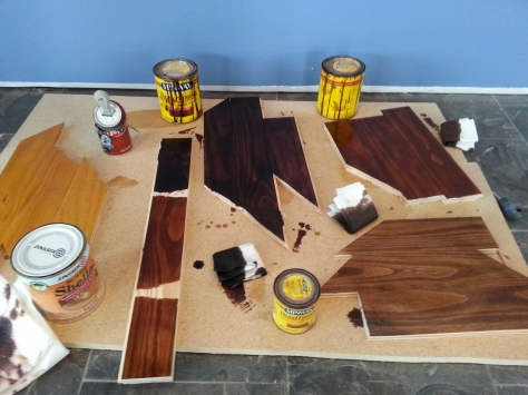 Trying various stains and clear-coats on some scrap bar pine.