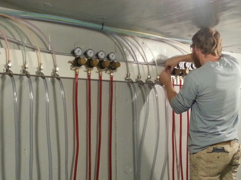 Finishing some CO2 line hookups.