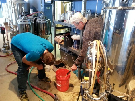 Calibrating the brew kettle.