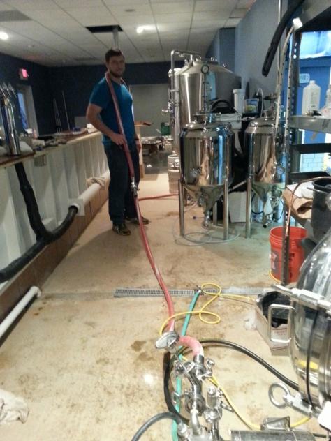 It's a longer way to the fermentors unlike homebrewing.