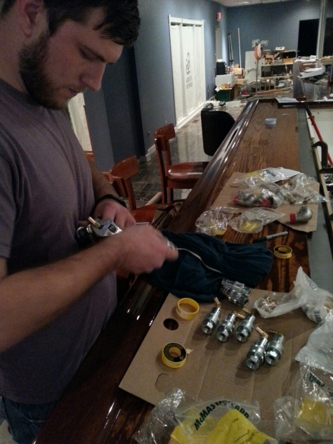 Assistant brewer Jesse also helped in the manifold system, also his first time in teflon taping pipe threads.